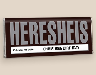 Our popular HERESHEIS® bar. Photo Courtesy of: WrappedHersheys.com.