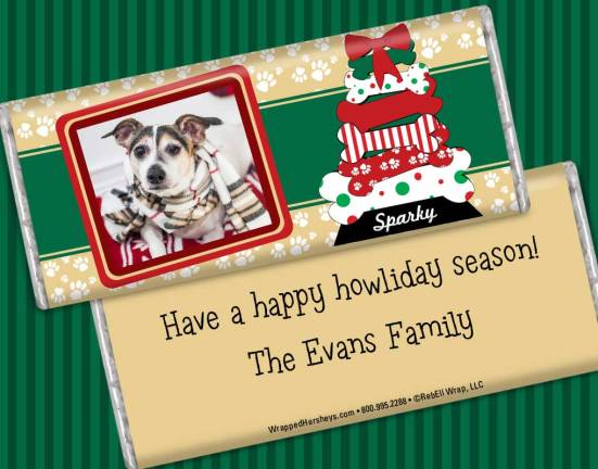 Custom Candy Bar Holiday Greetings for Pets