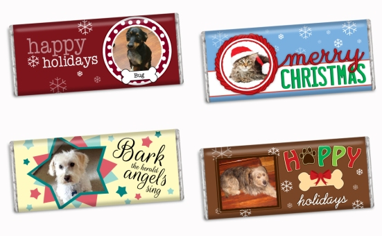 Personalized Candy Bar Wrappers for Hershey's Bars: Animal Themed Holiday Greetings