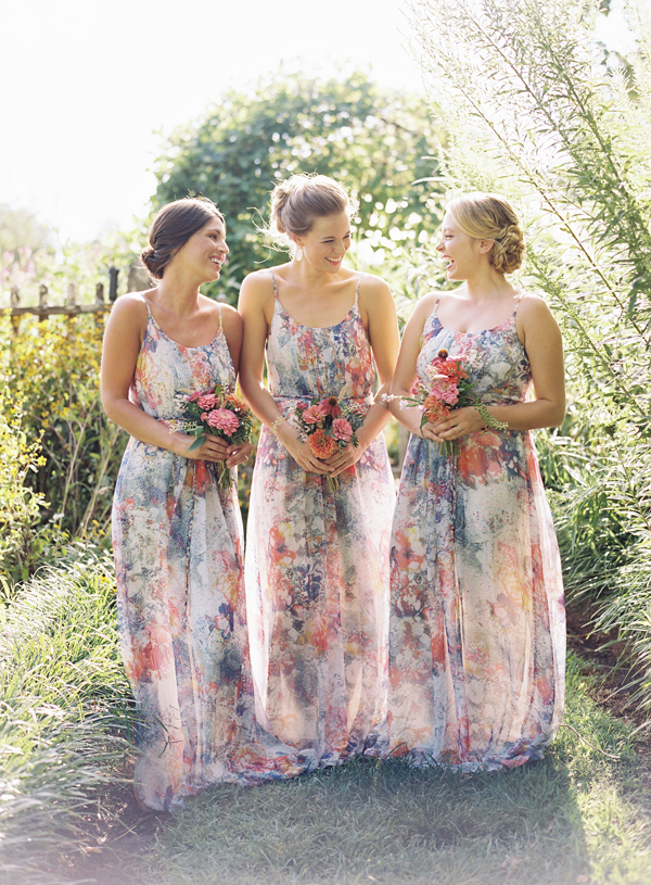 southern-wedding-floral-bridesmaid-dresses